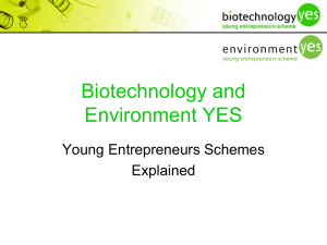 Biotechnology and Environment YES Young Entrepreneurs Schemes Explained