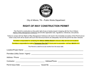 RIGHT-OF-WAY CONSTRUCTION PERMIT – Public Works Department City of Athens, TN