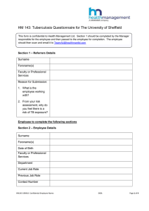 HM 143: Tuberculosis Questionnaire for The University of Sheffield