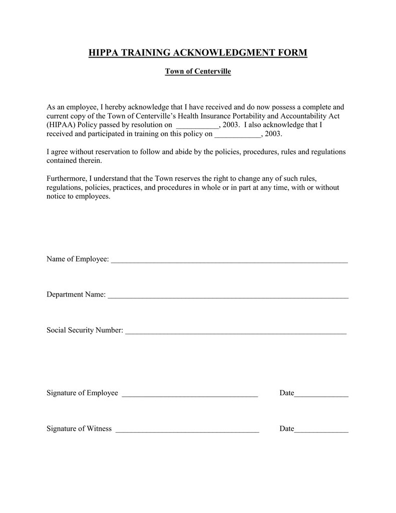 Training Manual Acknowledgment Form