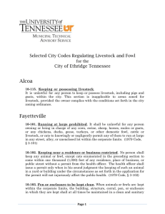 Alcoa Selected City Codes Regulating Livestock and Fowl City of Ethridge Tennessee