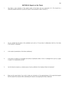 SECTION B: Report on the Thesis