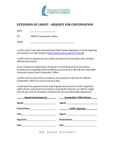 EXTENSION OF CREDIT – REQUEST FOR CONTINUATION
