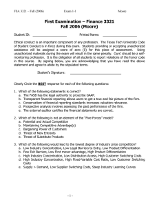 First Examination – Finance 3321 Fall 2006 (Moore)