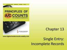 Chapter 13 Single Entry: Incomplete Records