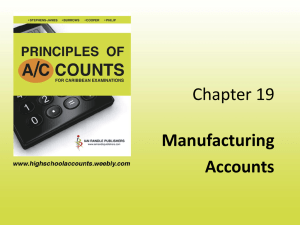 Chapter 19 Manufacturing Accounts