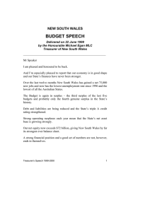 BUDGET SPEECH NEW SOUTH WALES Delivered on 22 June 1999