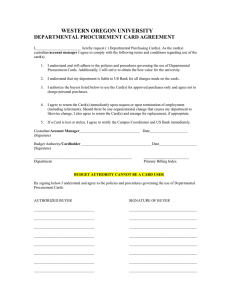 WESTERN OREGON UNIVERSITY DEPARTMENTAL PROCUREMENT CARD AGREEMENT