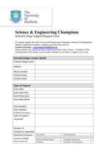 Science & Engineering Champions  School/College Support Request Form