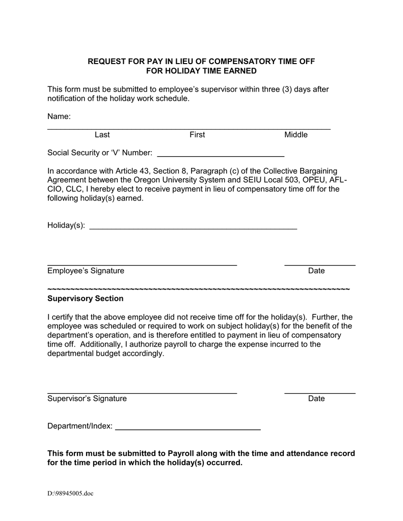 REQUEST FOR PAY IN LIEU OF COMPENSATORY TIME OFF