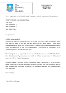 DEPARTMENTAL LETTERHEAD TO BE USED