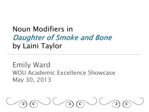 Daughter of Smoke and Bone Emily Ward Noun Modifiers in by Laini Taylor