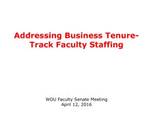 Addressing Business Tenure- Track Faculty Staffing WOU Faculty Senate Meeting April 12, 2016