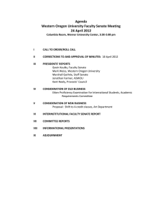 Agenda Western Oregon University Faculty Senate Meeting 24 April 2012