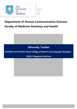 University Teacher  Department of Human Communication Sciences