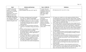 Goal Actions and Services Year 1: 2014-15 Evidence