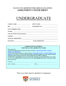 UNDERGRADUATE  ASSIGNMENT COVER SHEET