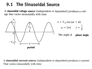 sinusoidal current source That varies sinusoidally with time