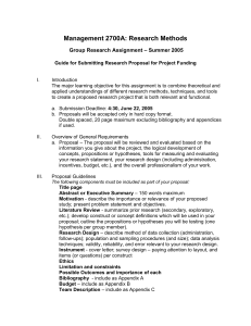 Management 2700A: Research Methods – Summer 2005 Group Research Assignment