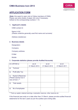 CIMA Business Icon 2013 APPLICATION FORM