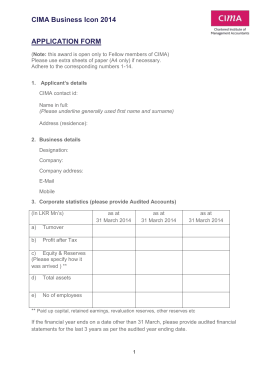 CIMA Business Icon 2014 APPLICATION FORM