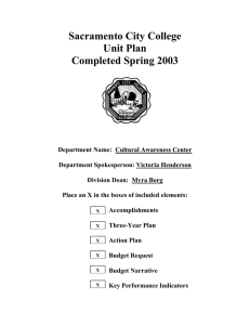 Sacramento City College Unit Plan Completed Spring 2003