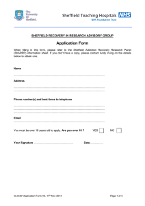 Application Form  SHEFFIELD RECOVERY IN RESEARCH ADVISORY GROUP