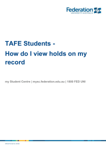 TAFE Students - How do I view holds on my record