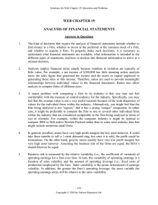 WEB CHAPTER 19  ANALYSIS OF FINANCIAL STATEMENTS
