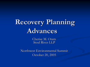 Recovery Planning Advances Cherise M. Oram Stoel Rives LLP