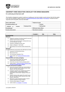 UNIVERSITY WIDE INDUCTION CHECKLIST FOR HIRING MANAGERS  HR SERVICE CENTRE