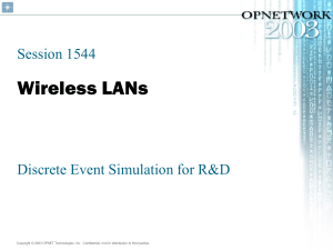 Wireless LANs Session 1544 Discrete Event Simulation for R&D