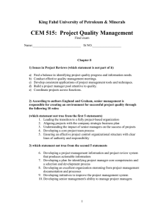 CEM 515:  Project Quality Management