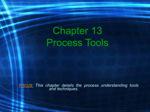 Chapter 13 Process Tools This chapter details the process understanding tools and techniques.