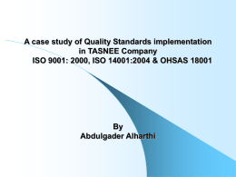 A case study of Quality Standards implementation in TASNEE Company