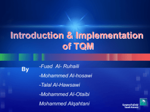 Introduction & Implementation of TQM By -Fuad  Al- Ruhaili