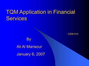 TQM Application in Financial Services By Ali Al Mansour