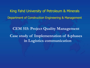 CEM 515: Project Quality Management in Logistics communication