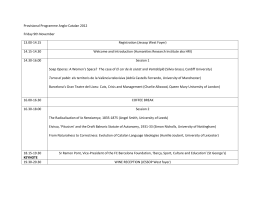 Provisional Programme Anglo-Catalan 2012 Friday 9th November 13.00-14.15 Registration (Jessop West Foyer)