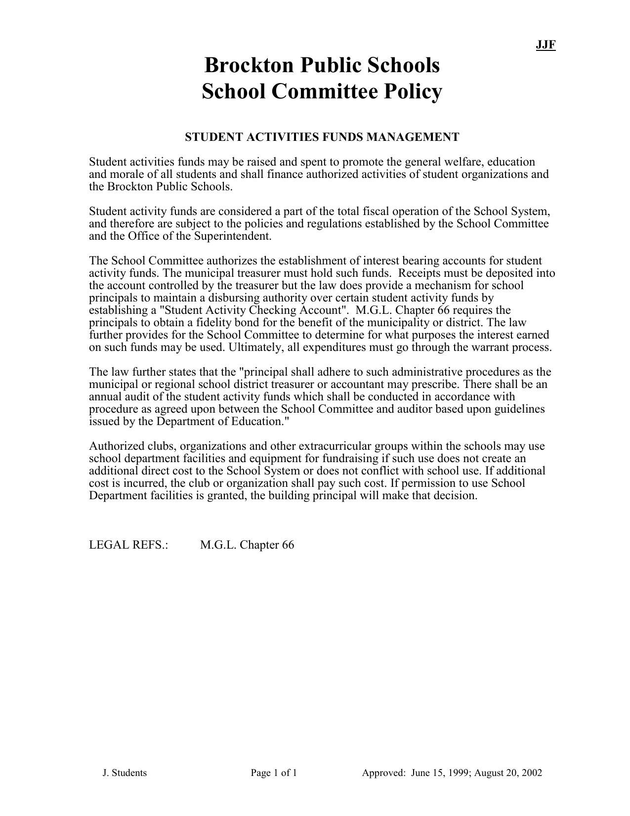Brockton Public Schools School Committee Policy