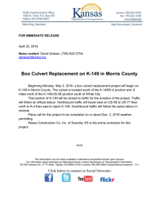 Box Culvert Replacement on K-149 in Morris County