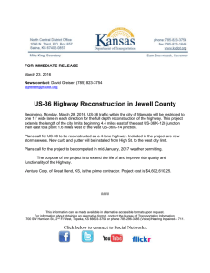 US-36 Highway Reconstruction in Jewell County  FOR IMMEDIATE RELEASE