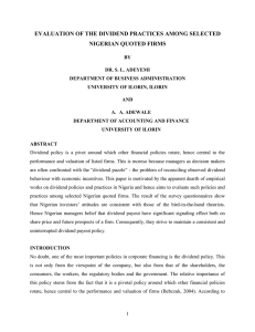 EVALUATION OF THE DIVIDEND PRACTICES AMONG SELECTED NIGERIAN QUOTED FIRMS