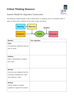Critical Thinking Resource Toulmin Model for Argument Construction