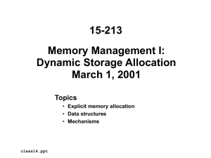 15-213 Memory Management I: Dynamic Storage Allocation March 1, 2001