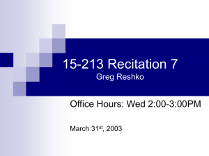 15-213 Recitation 7 Office Hours: Wed 2:00-3:00PM Greg Reshko March 31