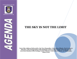 THE SKY IS NOT THE LIMIT  www.unilorin.edu.ng