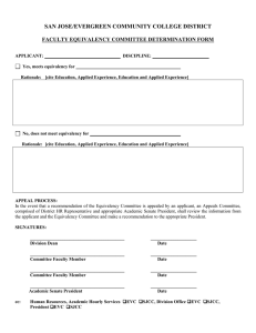 SAN JOSE/EVERGREEN COMMUNITY COLLEGE DISTRICT  FACULTY EQUIVALENCY COMMITTEE DETERMINATION FORM