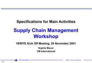 Supply Chain Management Workshop Specifications for Main Activities