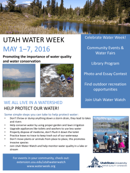 UTAH WATER WEEK MAY 1–7, 2016